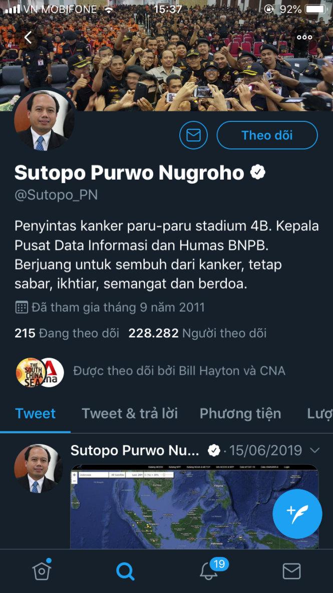 Trang Twitter của ông Sutopo Purwo Nugroho