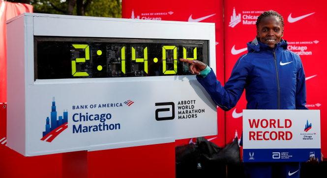 Chủ nhân mới của kỷ lục marathon thế giới Brigid Kosgei. Ảnh: Getty Images