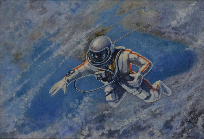Bức tranh Alexei Leonov vẽ năm 1973, tái hiện cảnh ông đi bộ trong không gian. Ảnh: tass.ru