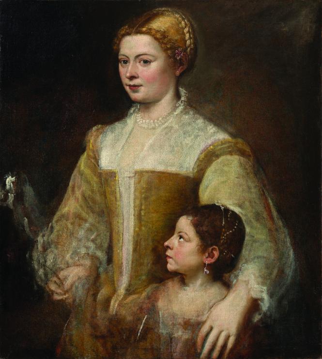 Bức Người phụ nữ và cô con gái, kích thước 88.3 x 80.6 cm.