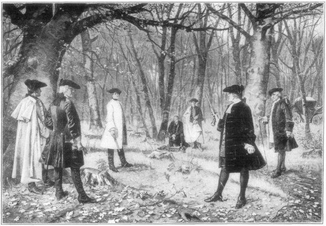 Vụ đọ súng Burr Hamilton, tranh vẽ năm 1902. Burr là người chủ tọa phiên luận tội đầu tiên trong lịch sử Hoa Kỳ. Ảnh: Wikipedia.org