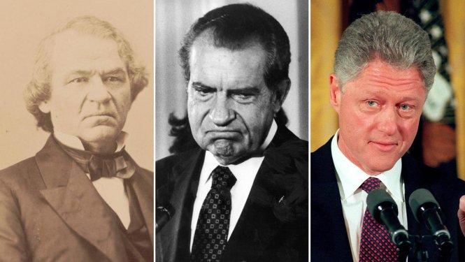 Các tổng thống Mỹ từng đối mặt với việc luận tội hoặc nguy cơ bị luận tội, từ trái sang: Andrew Johnson, Richard Nixon và Bill Clinton. Ảnh: wnct.com