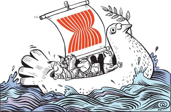 Cả ASEAN ở chung trên một con thuyền hòa bình. Ảnh: The Straits Times