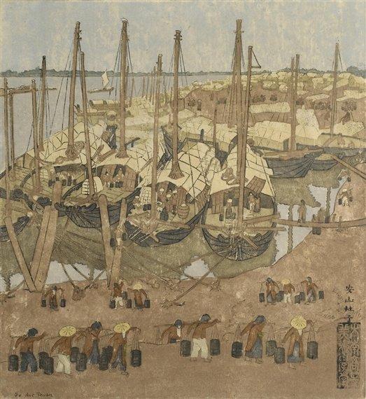"""Bức tranh khắc gỗ """"Bến thuyền sông Hồng"""