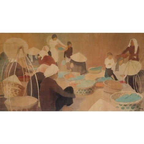 Cảnh phố chợ Đông Dương (~1926 - 1929), lụa, 51x92cm