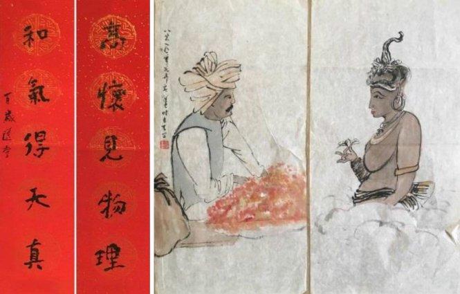 Tranh và thư pháp của Nhiêu Tông Di về văn hóa Tây Bắc Trung Quốc. Ảnh: asiatimes.com