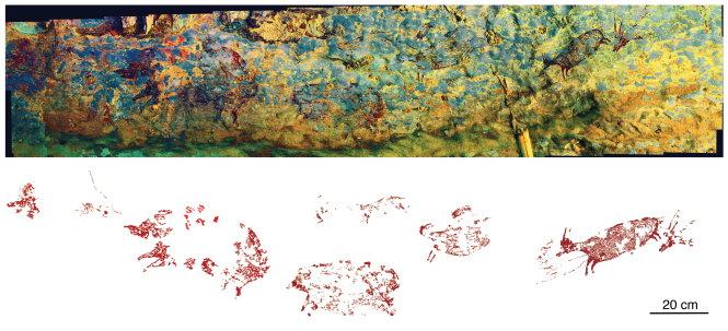 Cảnh săn bắt ở hang Leang Bulu' Sipong 4 có niên đại khoảng 44.000 năm trước. Hình trên cho thấy toàn cảnh bức tranh được nâng màu bằng kỹ thuật DStretch. Hình dưới là bản dò vết tranh được xử lý kỹ thuật số. Ảnh: Ratno Sardi và Adhi Agus Oktaviana.