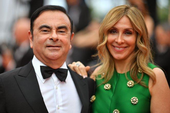 Vợ chồng Carlos và Carole Ghosn. Ảnh: AFP