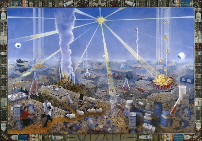 Frank Moore-Wizard, 1994-oil on canvas with pharmaceuticals cast in lucite in aluminum frame-68 x 95 1/2 in. (172.7 x 242.6 cm) -SW 94116