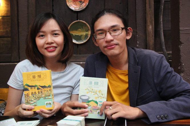 Tuệ Mẫn và Thiện Toàn - tác giả của board game Lên Mâm và Hội Phố. Ảnh: Ngọc Đông