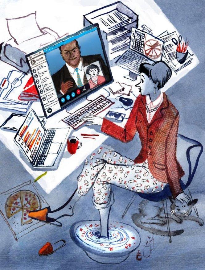 Nếu quá thoải mái khi làm việc ở nhà, hiệu quả công việc có thể sẽ bị ảnh hưởng. Ảnh: WSJ