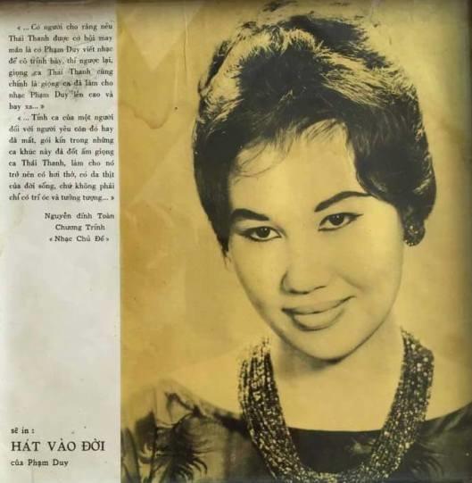 Một bìa đĩa của ca sĩ Thái Thanh.