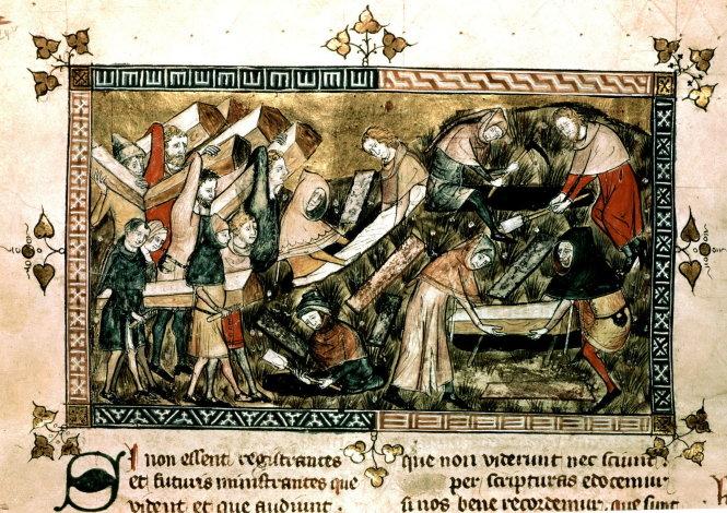 """Bức tranh vẽ năm 1349 trong thời gian dịch """"Cái chết đen"""" mô tả cảnh người dân thành phố Tournai - nay thuộc Bỉ - đang mang quan tài bệnh nhân đi chôn. Đây là một trong những tài liệu bằng hình cổ nhất nói về dịch bệnh nằm trong quyển từ điển bách khoa toàn thư thế kỷ 14 có tên Omne Bonum."""