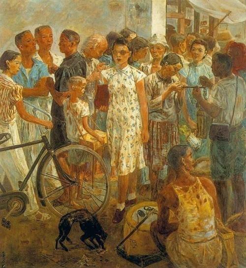 Đường vào chợ, tranh của họa sĩ Đài Loan Lý Thạch Tiều (Lee Shih Chiao) mô tả Đài Loan thời thuộc Nhật. Ảnh: Taipei Times