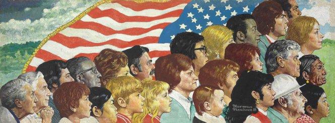 Tinh thần Mỹ, tranh của Norman Rockwell. Ảnh: Rockwell Museum