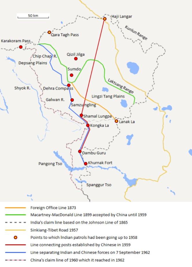 Bản đồ khu vực tranh chấp Trung - Ấn. Ảnh: Wiki Commons