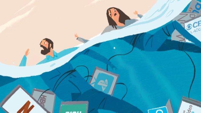 Chết chìm trong phí thuê bao streaming. Ảnh: kiplinger.com