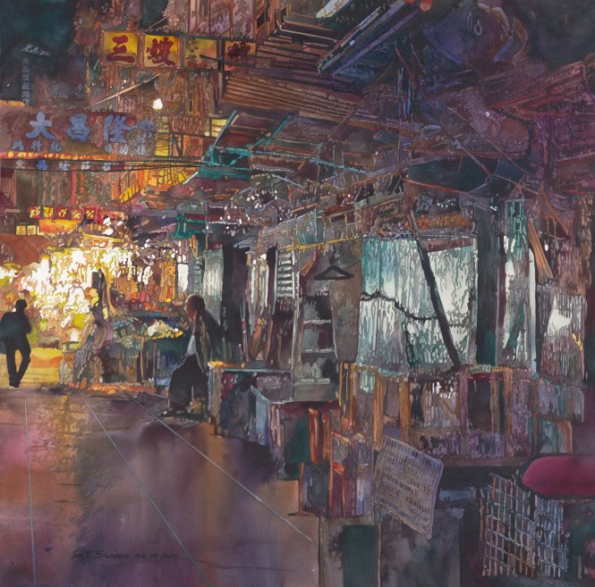 Ngõ hẻm Hong Kong, tranh của John Salminen. Ảnh: Pinterest