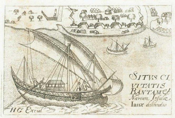 Quang cảnh thành phố Bantam (nay là Banten) và tàu thuyền ngoài khơi đảo Java. Tranh vẽ năm 1610. Các dân tộc ven Biển Đông đã sinh sống dựa vào vùng biển này suốt nhiều thiên niên kỷ. Ảnh: Wikipedia
