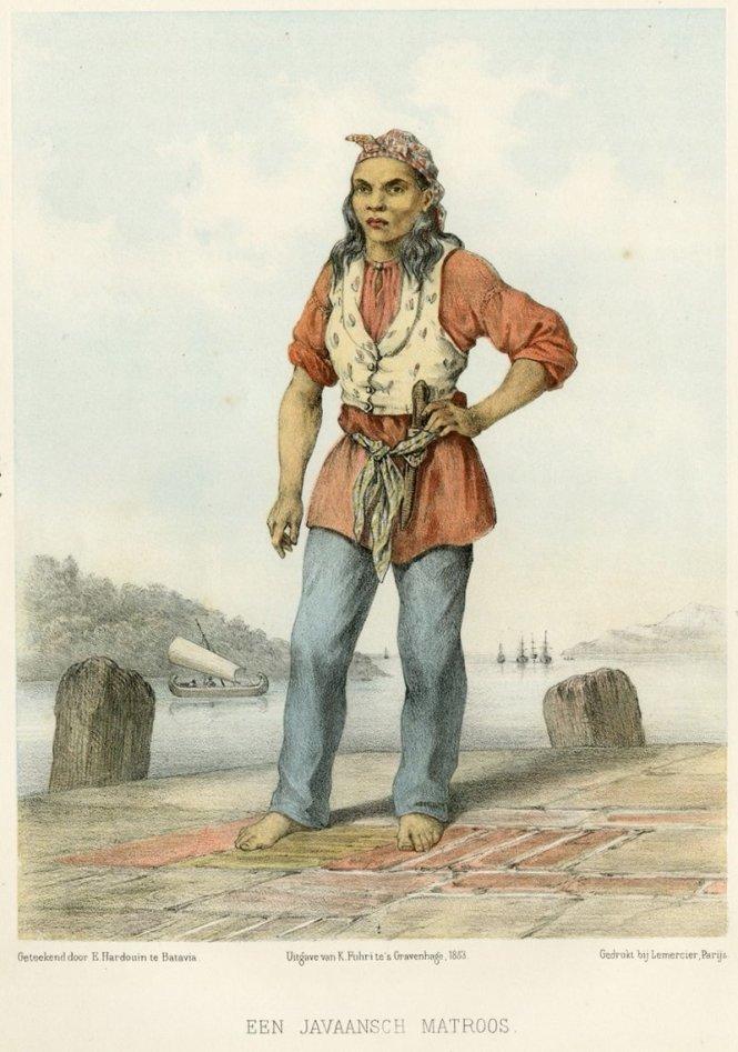 Một nữ thủy thủ người Java, tranh vẽ năm 1855. Ảnh: Wikipedia