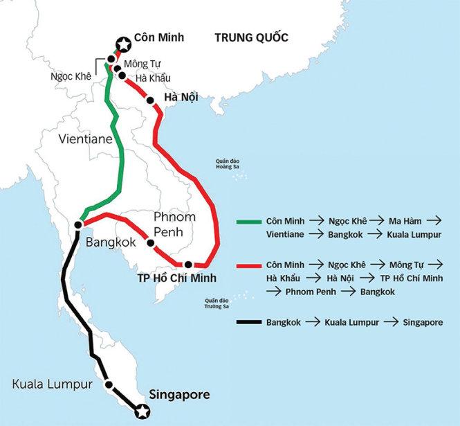 Các tuyến đường sắt trong đề án BRI dự kiến sẽ nối Côn Minh với Singapore, đi xuyên qua Đông Nam Á lục địa. Ảnh: Bangkok Post