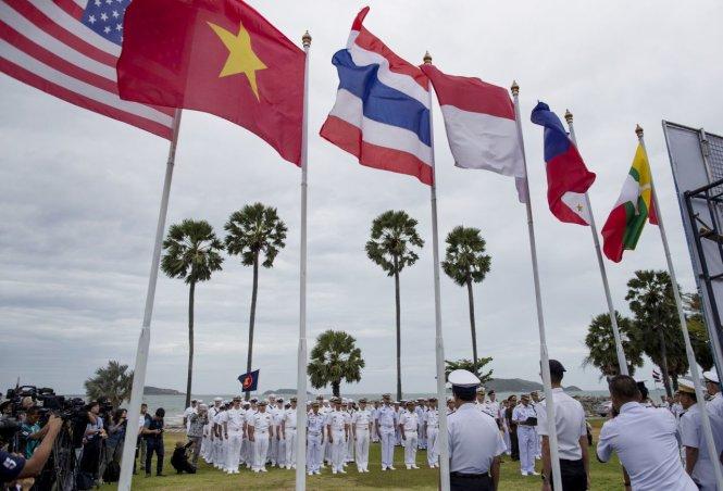 Tập trận chung của hải quân Mỹ và ASEAN ở Thái Lan tháng 9-2019. Ảnh: AP