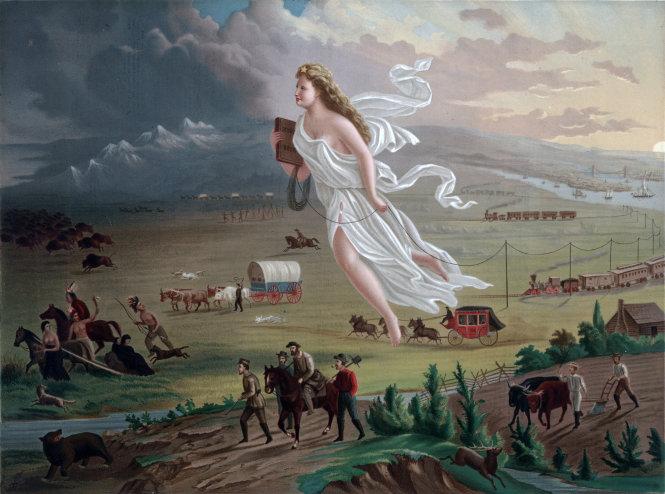 Bước tiến của đất nước Hoa Kỳ, tranh của John Gast vẽ năm 1872, tác phẩm hội họa tiêu biểu của chủ nghĩa quốc gia. Trong tranh, người phụ nữ với ngôi sao trên đầu và cuốn sách giáo khoa trên tay là đại diện cho