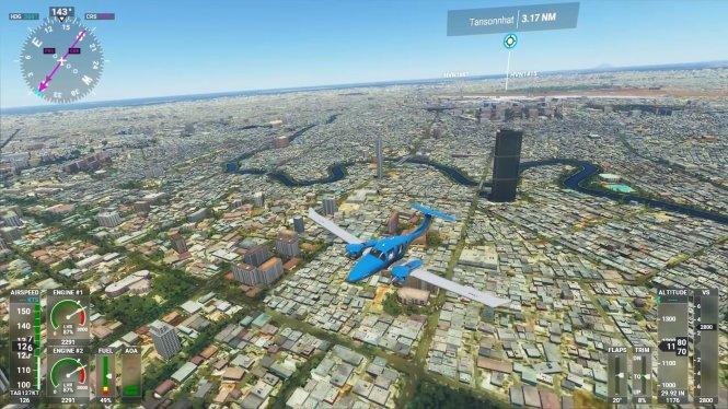 Một chuyến bay cất cánh từ Tân Sơn Nhất trong game. Ảnh chụp màn hình từ YouTube/ND Gaming
