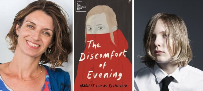 """Từ trái sang: dịch giả Michele Hutchison, bìa cuốn sách """"Sự khó chịu của buổi tối"""", và tác giả Marieke Lucas Rijneveld. Ảnh: letterenfonds.nl"""