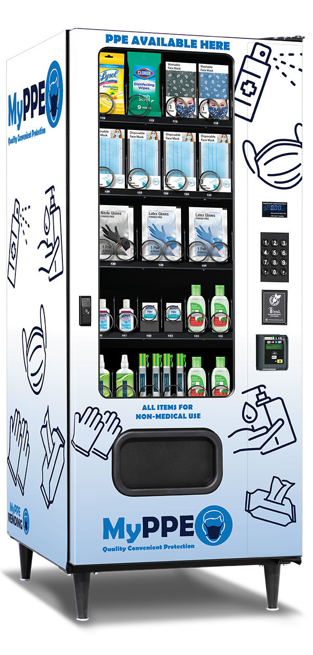 Máy bán các sản phẩm thiết yếu trong mùa dịch. Ảnh: myppevending.com