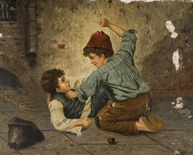 """Bức tranh """"Boys Fighting"""" của Gaetano Lodi (1830 - 1886)."""