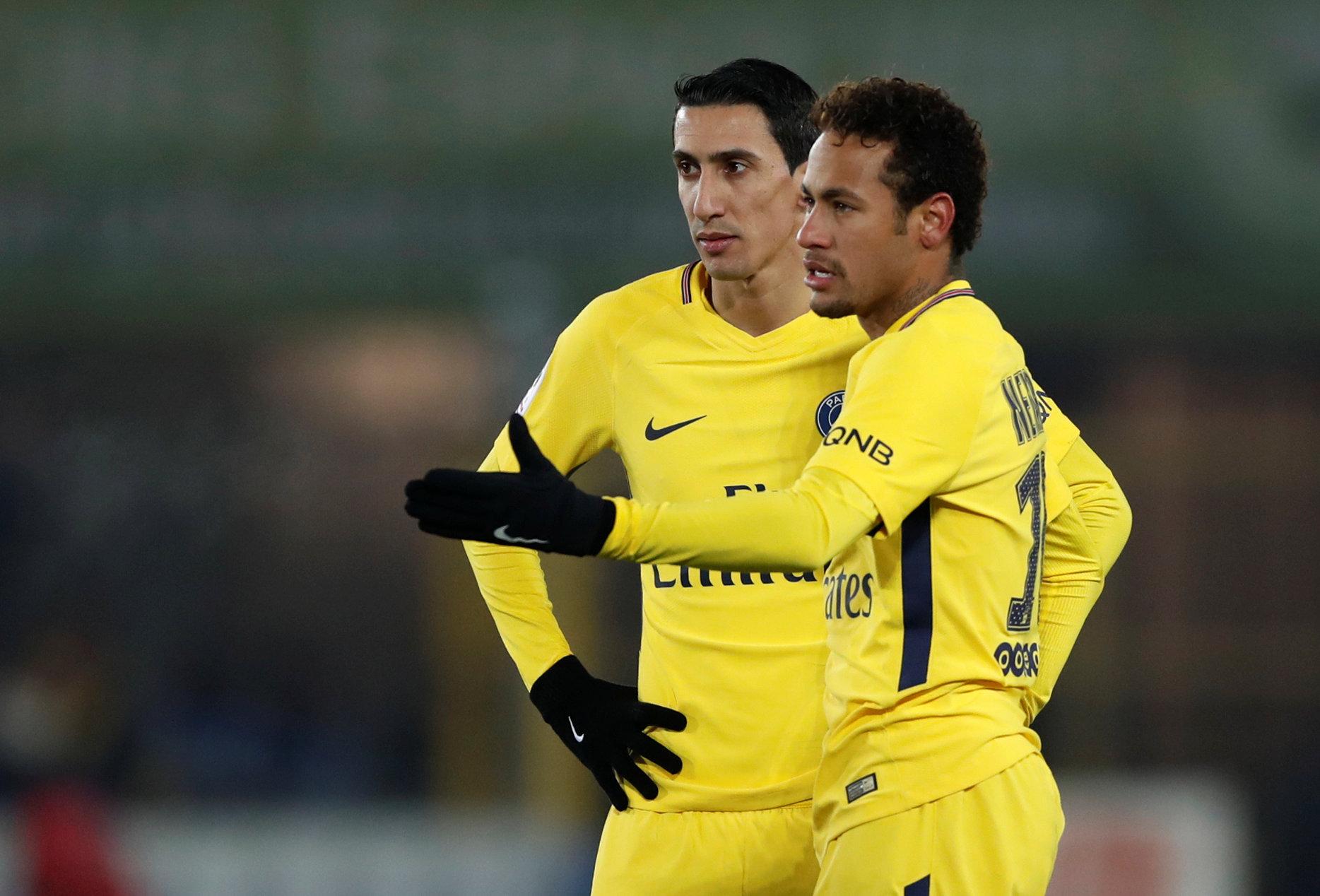 Vẻ mặt thất vọng của Neymar và Di Maria sau khi bị thủng lưới. Ảnh: REUTERS