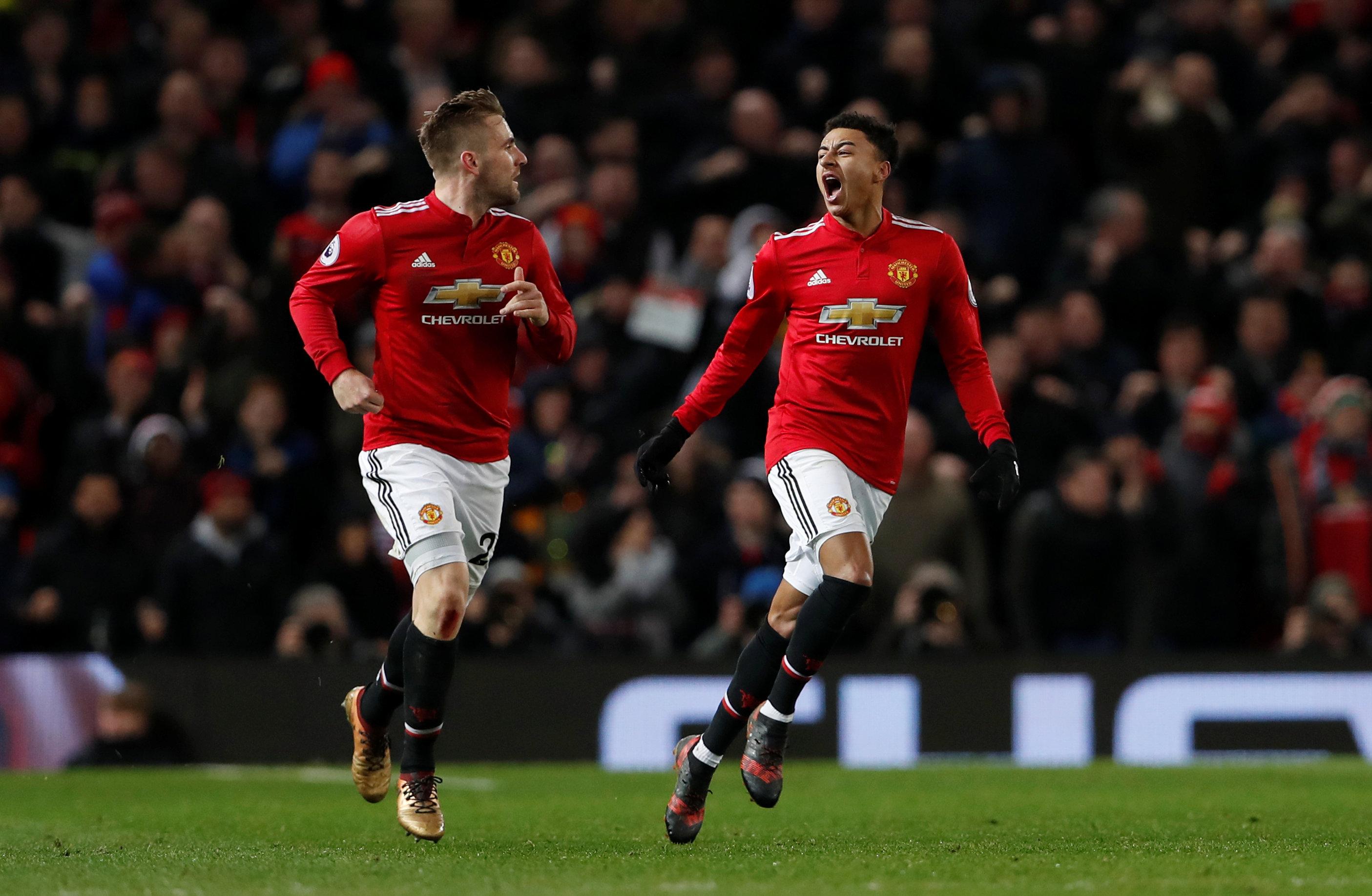 Niềm vui của Lingard sau khi gỡ hòa 2-2 cho M.U. Ảnh: REUTERS
