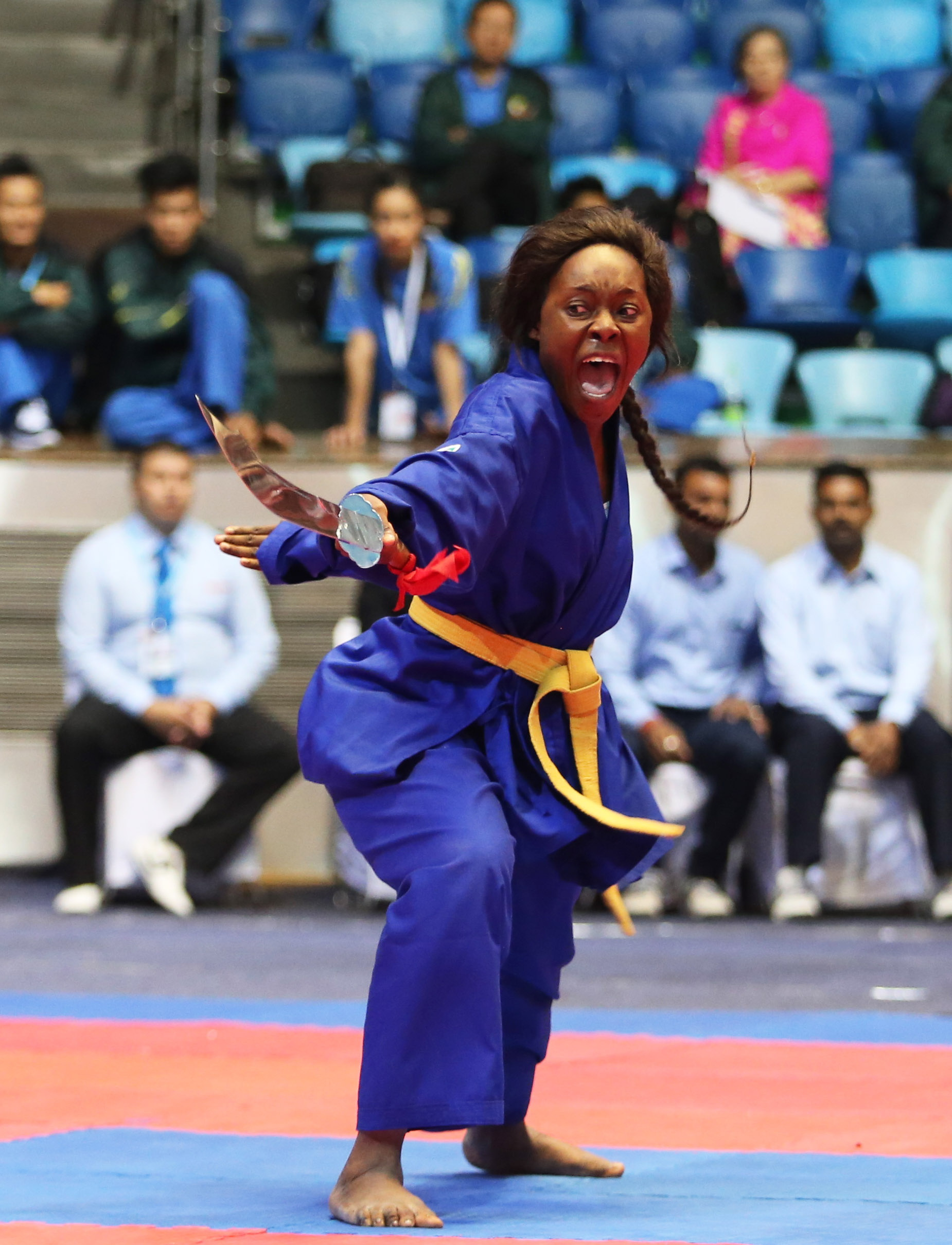 Nữ VĐV người Bờ Biển Ngà thi đấu tại Giải vovinam thế giới 2017 ở Ấn Độ Ảnh: GIANG LÊ