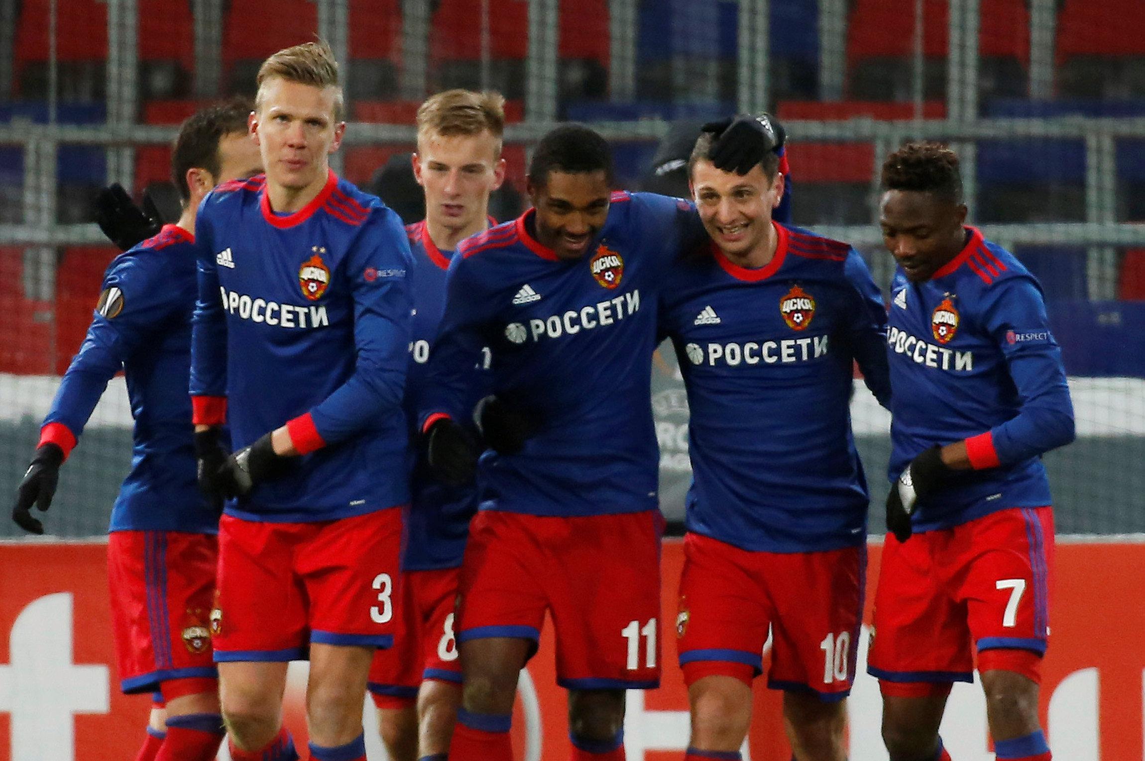 Niềm vui của các cầu thủ CSKA Moscow sau khi ghi bàn vào lưới Crvena Zvezda. Ảnh: REUTERS