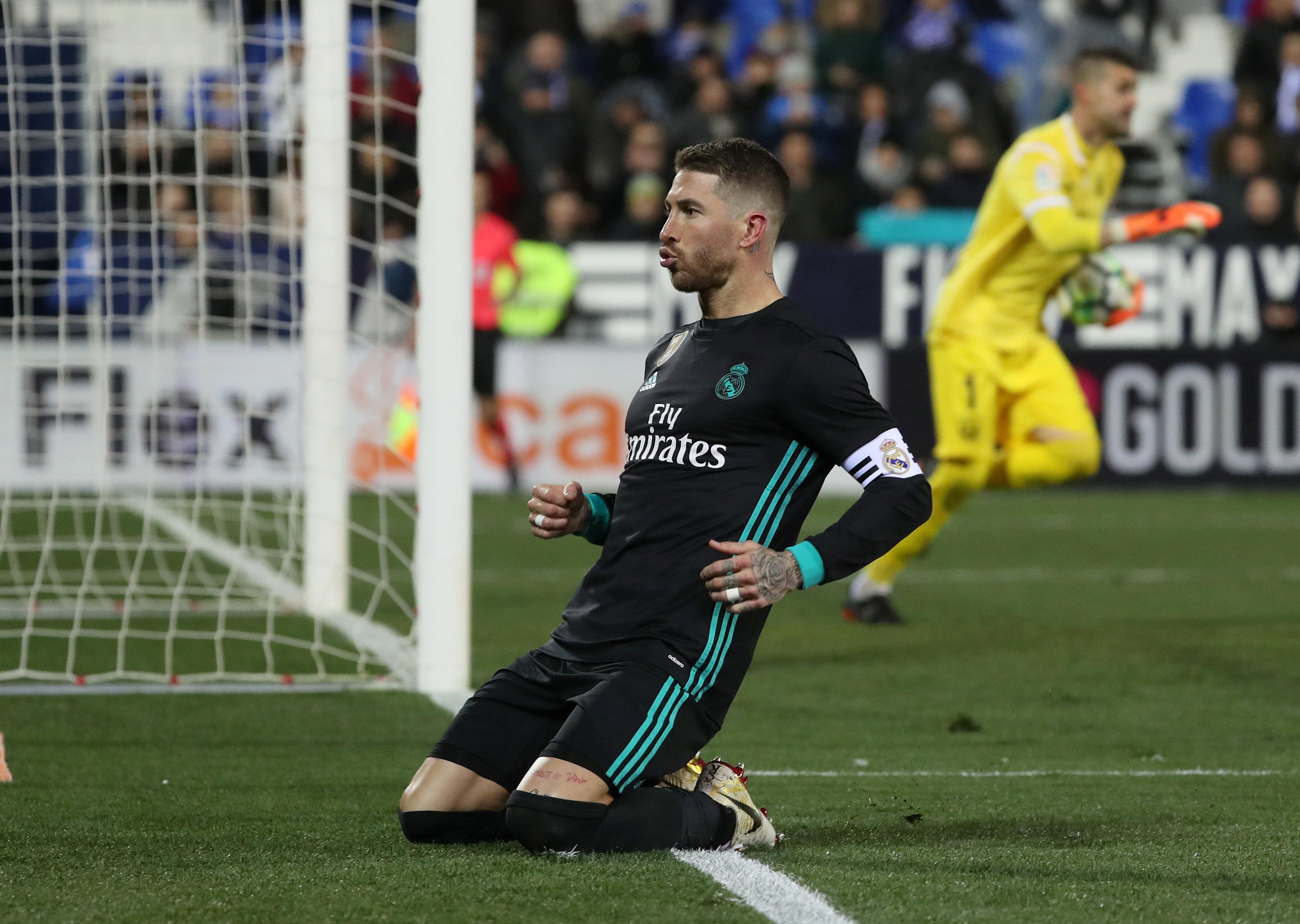 Ramos ăn mừng bàn ấn định tỉ số 3-1 cho R.M. Ảnh: REUTERS
