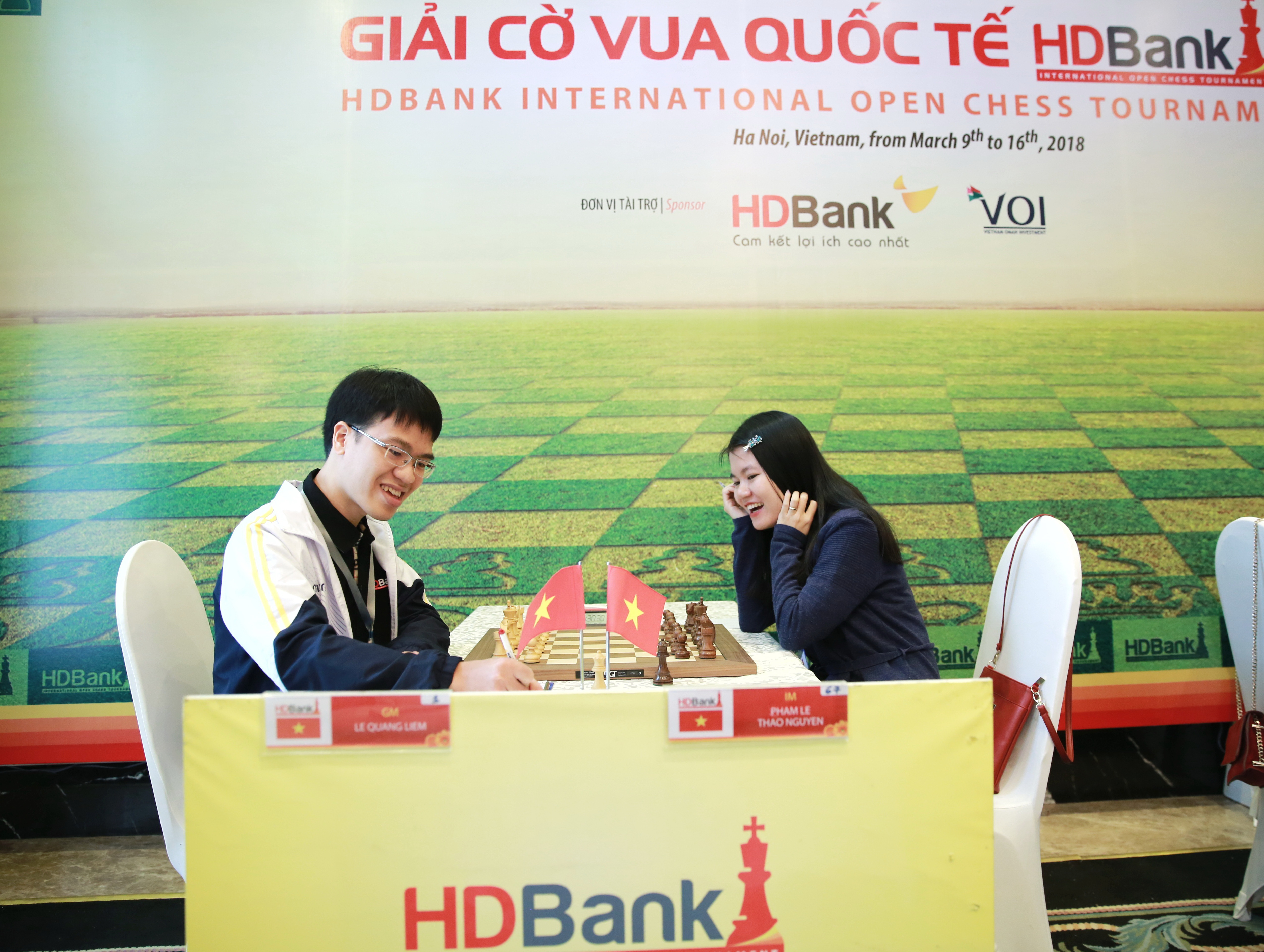 Quang Liêm và Thảo Nguyên thi đấu hôm 10-3      -Ảnh: VTC