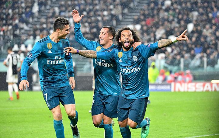 Marcelo (phải) ăn mừng bàn nâng tỉ số lên 3-0 cho R.M. Ảnh: GETTY IMAGES