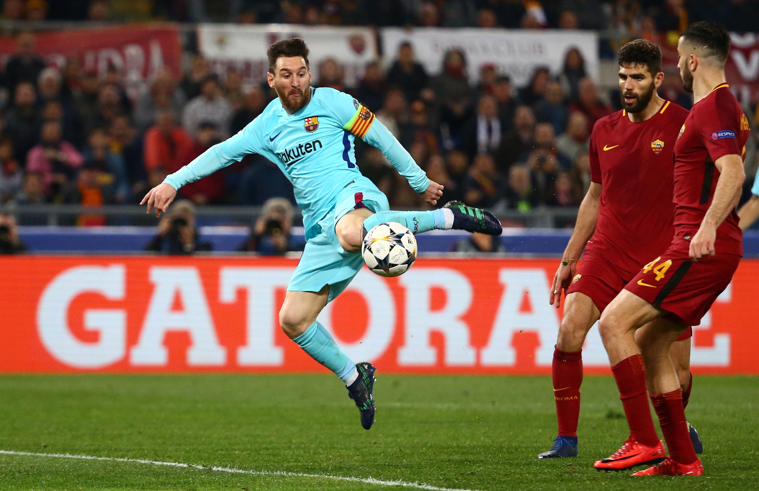 Messi có trận đấu khá thất vọng trước Roma. Ảnh: REUTERS