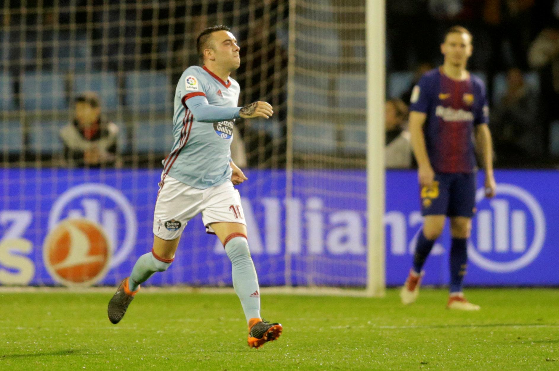 Aspas ăn mừng bàn gỡ 2-2 cho Celta Vigo. Ảnh: REUTERS