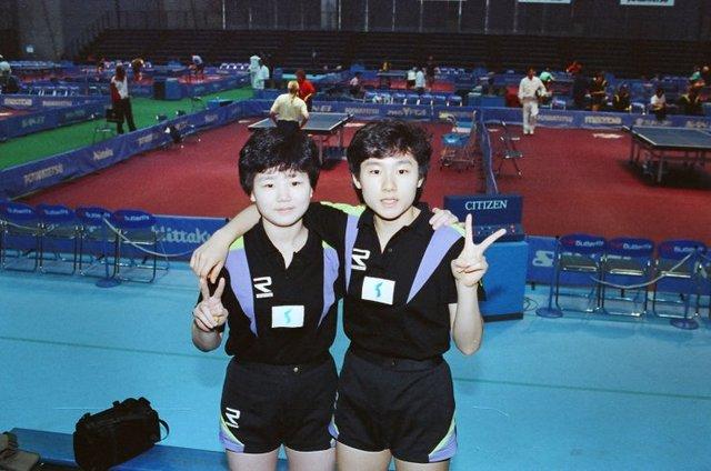 Hyun (phải) và Li ở Giải vô địch thế giới năm 1991. Ảnh: Bez Cadıları