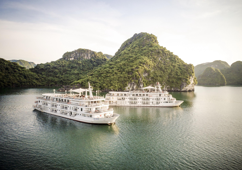 Những chiếc du thuyền phục vụ việc nghỉ đêm trên vịnh Hạ Long.  -Ảnh: Chí Tuệ